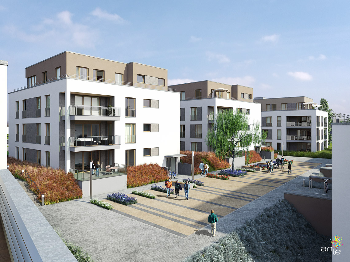 February, 2012. Housing estate, Bonn. Country: Germany. Visualisation: courtyard..